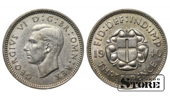 1940 Great Britain UK Coin Silver Ag Coinage Rare 3 Pence KM#848 #UK651