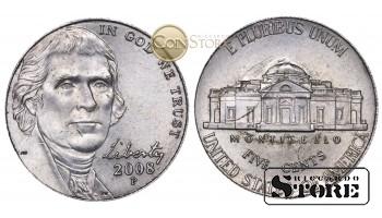 Монеты США , 5 центов - 2008 год P