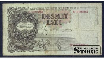 БАНКНОТА , ЛАТВИЯ , 10 ЛАТ 1937 - S 179893