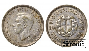 1938 Great Britain UK Coin Silver Ag Coinage Rare 3 Pence KM#831 #UK714