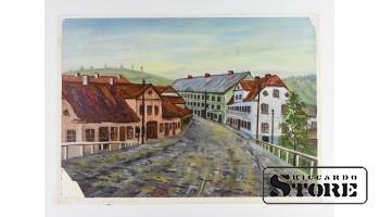 Картина, Улица Кулдигас , картон - масло , 43X31 СМ , Арманд Берзиньш , 1959 год