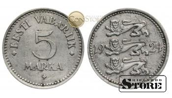 Эстония , 5 марок 1925 год , Никелевая бронза