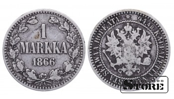 1866 Finland Emperor Nicholas II (1895 - 1917) Coin Coinage Standard 1 markka KM#3 #F355