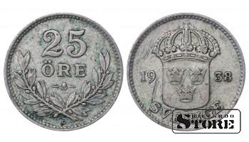 1938 Sweden King Gustav V (1908 - 1950) Coin Coinage Standard 25 ore KM# 785 #46