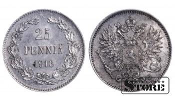 1916 Finland Emperor Nicholas II (1895 - 1917) Coin Coinage Standard 25 pennia KM#6 #F391