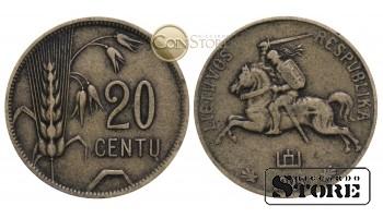 Литва , 20 центов 1925 год , Алюминиевая бронза