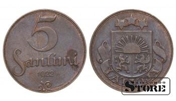 1922 Latvia First Republic (1922 - 1940) Coin Coinage Standard 5 santimi KM# 3 #LV253