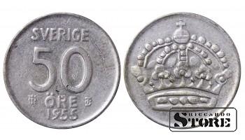 1955 Sweden King Gustav V (1908 - 1950) Coin Coinage Standard 50 Ore KM#825 #SW150