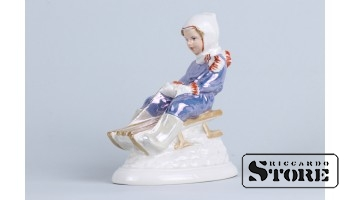 Statuette, From the hill, porcelain, Riga, Riga Porcelain Factory, model author - Zina Ulste, 1950s, 12 см