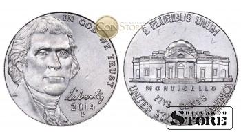 Монеты США , 5 центов - 2014 год P
