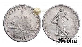 Франция , 1 франк 1910 год , Серебро 5 г , Третья Республика (1870 - 1941)
