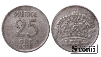 1958 Sweden King Gustaf VI Adolf (1950 - 1973) Coin Coinage Standard 25 Ore KM#824 #SW178