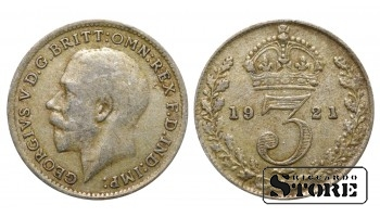 1921 Great Britain UK Coin Silver Ag Coinage Rare 3 Pence KM#813a #UK709