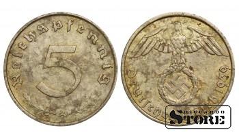 1939 Germany Nazi Germany (Third Reich) (1933 - 1945) Coin Coinage Standard 5 reichspfennig KM#91 #G481