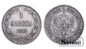 1890 Finland Emperor Nicholas II (1895 - 1917) Coin Coinage Standard 1 markka KM#3 #F346