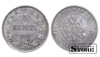 1907 Finland Emperor Nicholas II (1895 - 1917) Coin Coinage Standard 1 markka KM#3 #F344