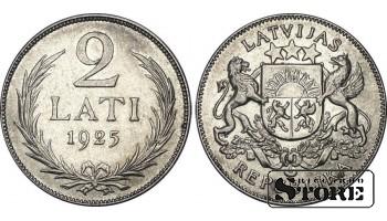 Латвия, 2 Лата 1925 год , Серебро , 10 г