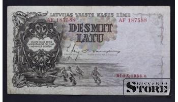 БАНКНОТА , ЛАТВИЯ , 10 ЛАТ 1938 год - AF187588
