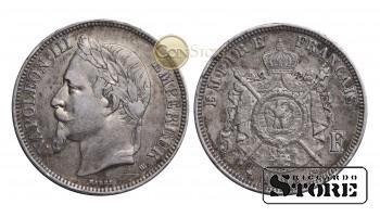 Франция , 5 франков 1869 год , Серебро 25 г , Император Наполеон III (1852 - 1870)