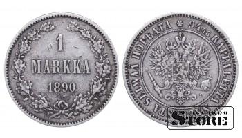 1890 Finland Emperor Nicholas II (1895 - 1917) Coin Coinage Standard 1 markka KM#3 #F359