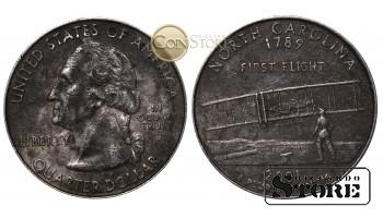 МОНЕТЫ США , 1/4 ДОЛЛАРА - 2001 год P (Квотер штата Северная Каролина)