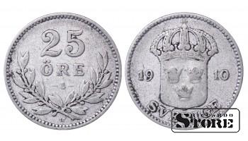 1910 Sweden King Gustav V (1908 - 1950) Coin Coinage Standard 25 ore KM# 785 #55