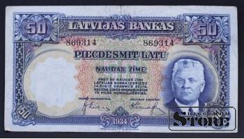 БАНКНОТА, ЛАТВИЯ , 50 ЛАТ 1934 ГОД - 869314