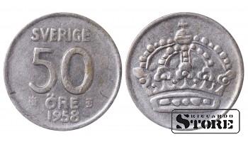 1958 Sweden King Gustav V (1908 - 1950) Coin Coinage Standard 50 Ore KM#825 #SW154