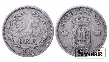 1907 Sweden King Oscar II (1873 - 1907) Coin Coinage Standard 25 ore KM# 775 #42
