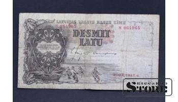 БАНКНОТА , ЛАТВИЯ , 10 ЛАТ 1937 год - S 064965