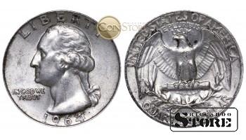 Монеты США , 1/4 доллара - 1964 год , Серебро 6.25 г