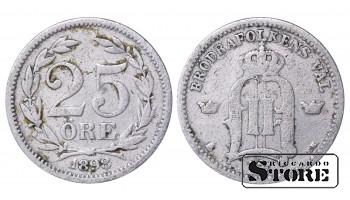 1898 Sweden King Oscar II (1873 - 1907) Coin Coinage Standard 25 ore KM# 739 #37
