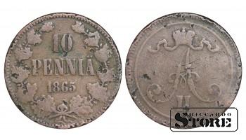 1865 Finland Emperor Alexander II (1864 - 1880) Coin Coinage Standard 10 pennia KM#5 #F438