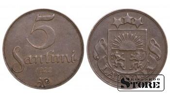 1922 Latvia First Republic (1922 - 1940) Coin Coinage Standard 5 Santimi KM#3 #LV474