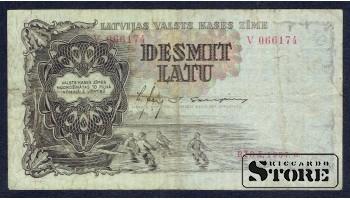 БАНКНОТА , ЛАТВИЯ , 10 ЛАТ 1937 - V 066174