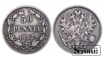 1892 Finland Emperor Nicholas II (1895 - 1917) Coin Coinage Standard 50 pennia KM#2 #F409