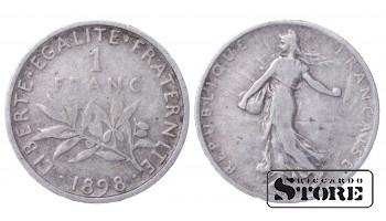 1898 France Third Republic (1870 - 1941) Coin Coinage Standard 1 franc KM#844 #61