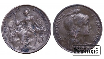 Франция , 5 сантимов 1917 год