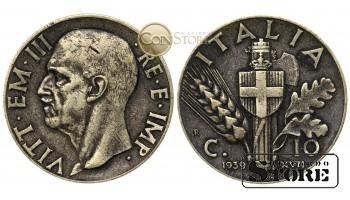 Италия , 10 чентезимо 1939 год , Король Виктор Эммануил III (1900 - 1946)