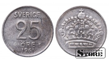1961 Sweden King Gustaf VI Adolf (1950 - 1973) Coin Coinage Standard 25 Ore KM#824 #SW181