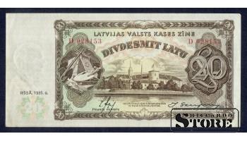 БАНКНОТА , 20 ЛАТ 1935 ГОД - D 028153 VF+
