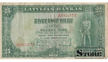 БАНКНОТА , ЛАТВИЯ , 25 ЛАТ 1938 ГОД , A045,472