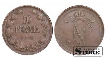 1916 Finland Emperor Nicholas II (1895 - 1917) Coin Coinage Standard 10 pennia KM#14 #F448
