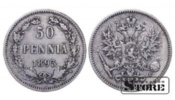 1893 Finland Emperor Nicholas II (1895 - 1917) Coin Coinage Standard 50 pennia KM#2 #F406