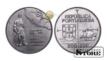 Португалия , 200 эскудо, 1992 год (450 лет открытию Калифорнии)