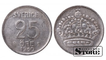 1960 Sweden King Gustaf VI Adolf (1950 - 1973) Coin Coinage Standard 25 Ore KM#824 #SW179
