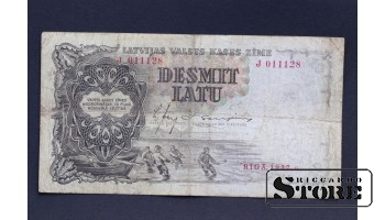 BANKNOTE , LATVIA, 10 LATI 1937 GADS - J 011128