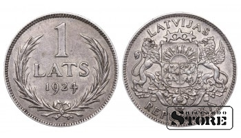 1924 Latvia First Republic (1922 - 1940) Coin Coinage Standard 1 Lats KM#7 #LV477