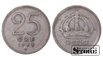 1944 Sweden King Gustav V (1908 - 1950) Coin Coinage Standard 25 Ore KM#816 #SW184