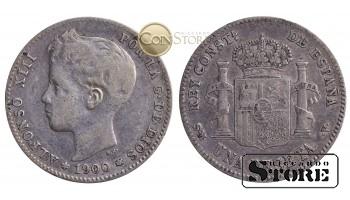 Испания , 1 песета 1900 год , Серебро 5 г (Король Альфонсо XIII (1886 - 1931)